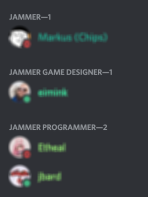 Color-coded user names and jam roles